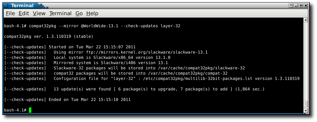 using compat32pkg in mode --check-updates layer-32