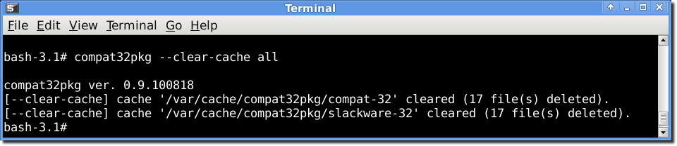 using compat32pkg in mode --clear-cache
