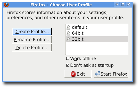 creating profile for firefox/32