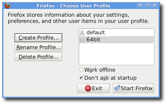 creating profile for firefox/64