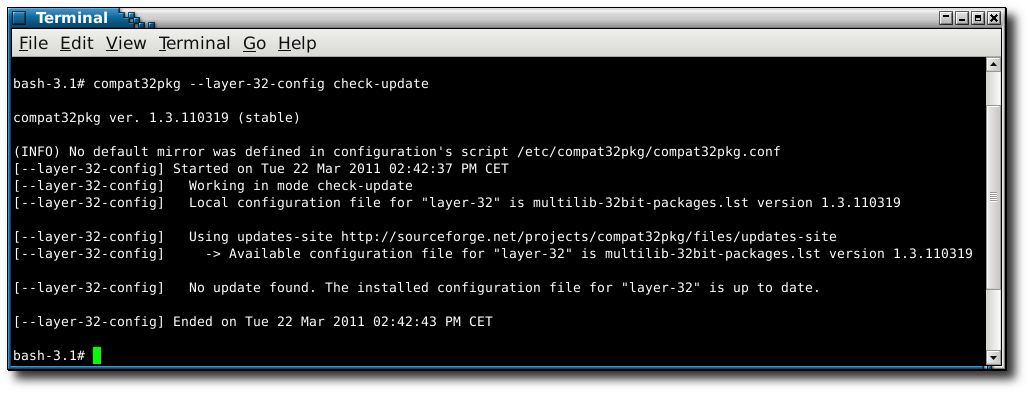 using compat32pkg in mode --layer-32-config check-update
