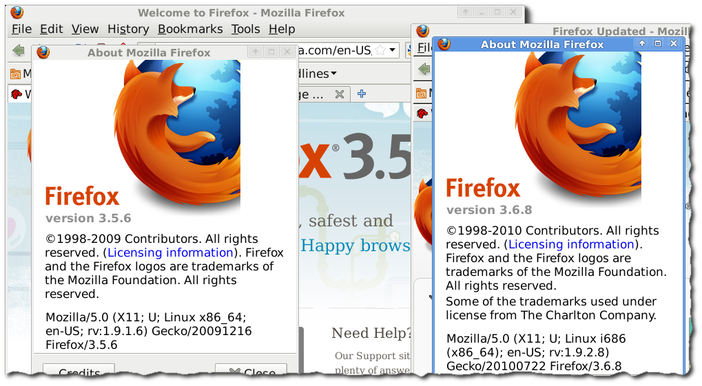 firefox 32 and 64 running